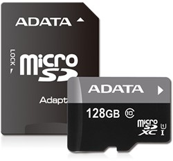 128GB microSDXC card w/adapter, UHS-1, CL10