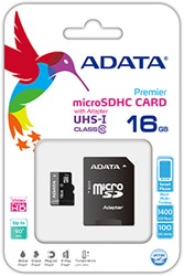 16GB microSDHC card w/adapter, UHS-1, CL10