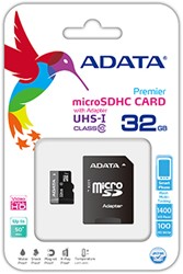 32GB microSDHC card w/adapter, UHS-1, CL10,