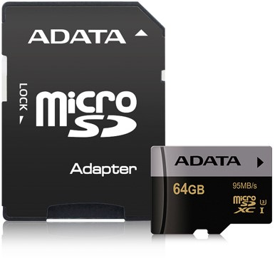 64GB microSDXC card w/adapter, UHS-3, CL10