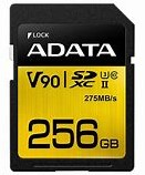 256GB SDXC Card, ADATA Premier ONE UHS-II, U3 Class 10