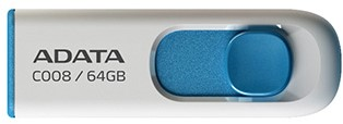 64GB USB Flash Disk Drive, USB 2.0, C008 Capless Sliding USB Flash Drive White/Blue