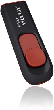 8GB USB Flash Disk Drive, USB 2.0, C008 Capless Sliding USB Flash Drive Black/Red-2