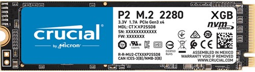 Crucial P2, 250 GB, M.2, 2300 MB / s, 3D NAND NVMe™ PCIe® M.2 SSD