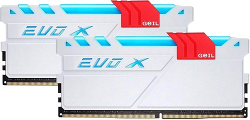 32GB (16GB*2) GEIL EVO X Series DDR4 PC4-24000 3000MHz, CL16 Dual Channel, White