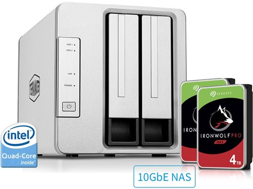Bundle TerraMaster F2-422 2-Bay Small business/home cloud NAS server + 8TB (2 x 4TB) Seagate Pro HDD