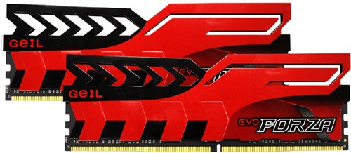 32GB (16GB*2) GEIL FORZA Series DDR4 PC4-25600 3000MHz, CL16 Dual Channel, Red