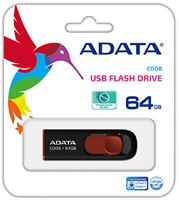 64GB USB Flash Disk Drive, USB 2.0, C008 Capless Sliding USB Flash Drive Black/Red-2