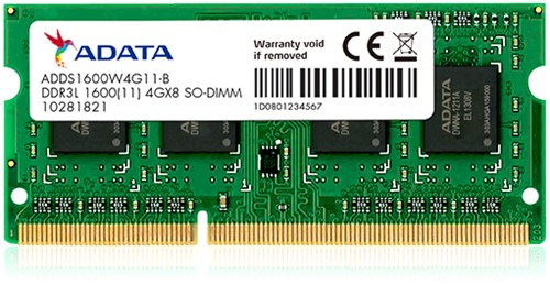 4GB Memory upgrade, SO-DIMM DDR3, 1600MHz, C11, Low Voltage