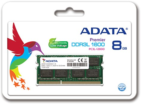 8GB Memory upgrade, SO-DIMM DDR3L, 1600MHz, C11, Low Voltage 1.35V