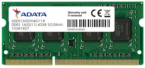 4GB SO-DIMM DDR3, 1600MHz, 204pin, C11, 1,5V