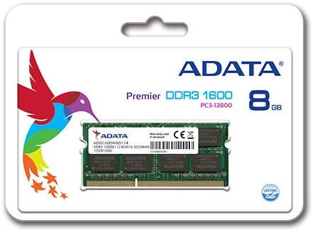 8GB SO-DIMM DDR3, 1600MHz, 204pin, C11, 1,5V