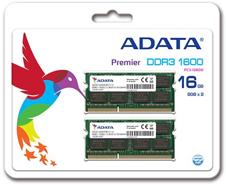 16GB (2 x 8GB) SO-DIMM DDR3, 1600MHz, 204pin, C11, 1,5V