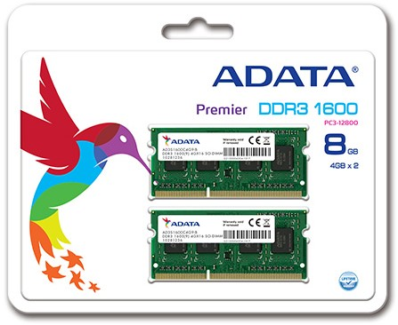8GB (2 x 4GB) SO-DIMM DDR3, 1600MHz, 204pin, C11, 1,5V