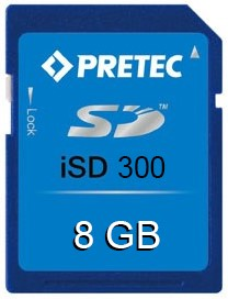 8GB Wide Temp Industrial SD Card, iSD300, -40°~ 85°