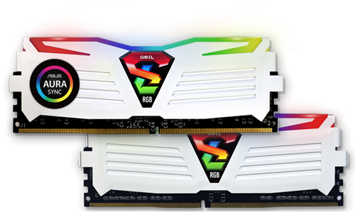 16GB (8GB*2) GEIL Super Luce RGB Sync Series DDR4 PC4-19200 2400MHz, CL16 Dual Channel, White