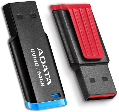 32GB USB 3.0 Flash Disk Drive, ADATA UV140, BLACK/BLUE-2
